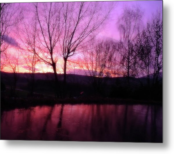 Purple Winter Sunset Over The Lake Metal Print