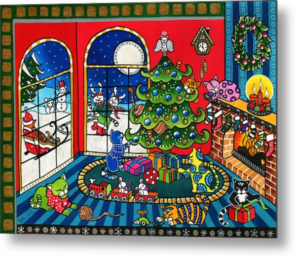 Purrfect Christmas Cat Painting Metal Print