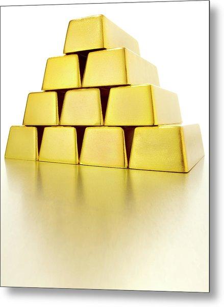 Pyramid Of Gold Bars Metal Print by John Kuczala