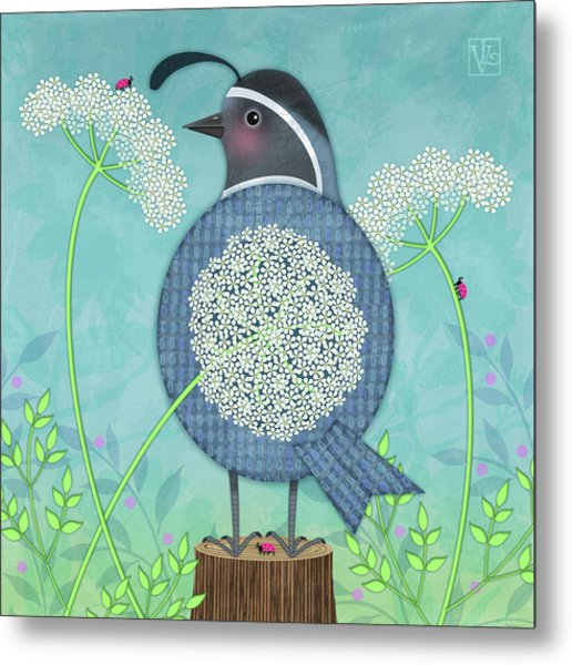 Q Is For Quail And Queen Anne's Lace Metal Print