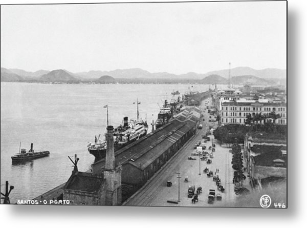 Quayside In Santos Metal Print by Hulton Archive