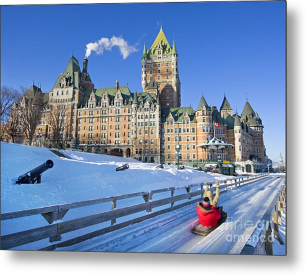 Quebec City In Winter, Traditional Metal Print