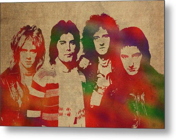 Queen Band Watercolor Portrait Metal Print