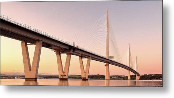 Queensferry Crossing Bridge Sunset Metal Print by Grant Glendinning