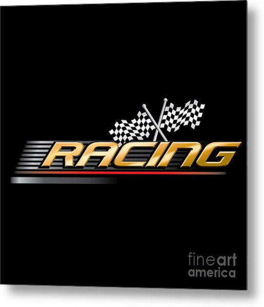 Racing With Checkered Flags Metal Print