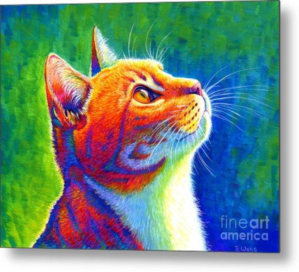 Rainbow Cat Portrait Metal Print