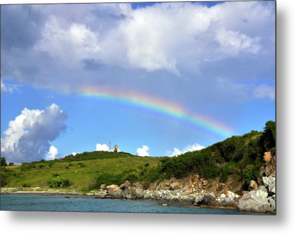 Rainbow Over Buck Island Lighthouse Metal Print