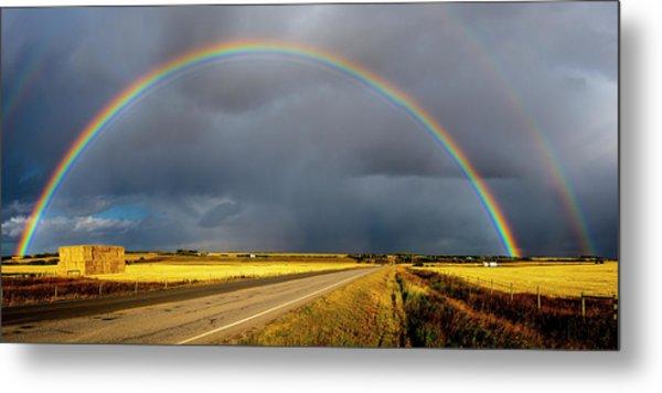 Rainbow Over Crop Land Metal Print
