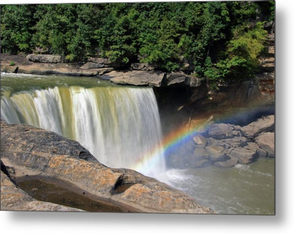 Metal Print featuring the photograph Rainbow Over Cumberland Falls by Angela Murdock