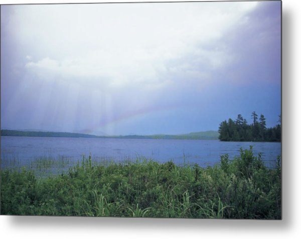Rainbow Over Raquette Lake Metal Print