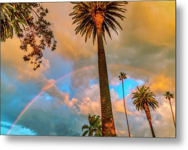 Rainbow Over The Palms Metal Print