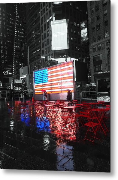 Rainy Days In Time Square  Metal Print