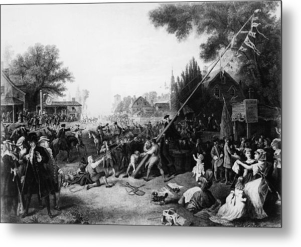 Raising The Liberty Pole In New York Metal Print by Hulton Archive