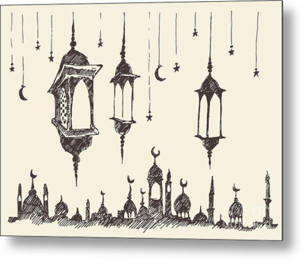 Ramadan Celebration Vintage Engraved Metal Print