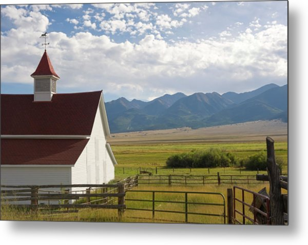 Ranch Barn, Fields And Mountains Metal Print