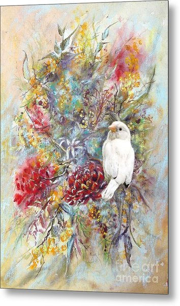 Rare White Sparrow - Portrait View. Metal Print