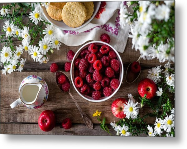 Raspberry Breakfast Metal Print