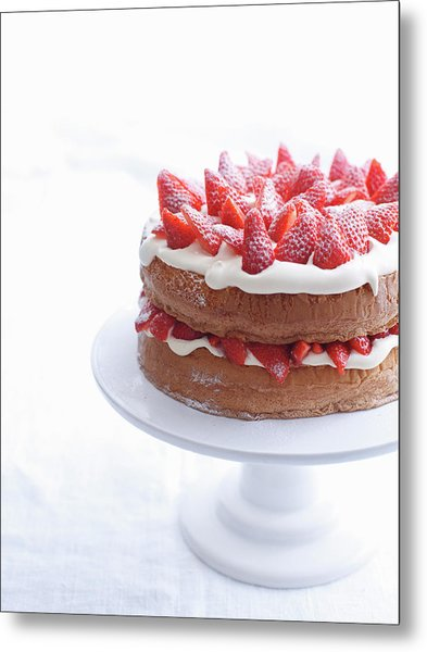 Raspberry Layer Cake On Platter Metal Print by Cultura Rm Exclusive/brett Stevens