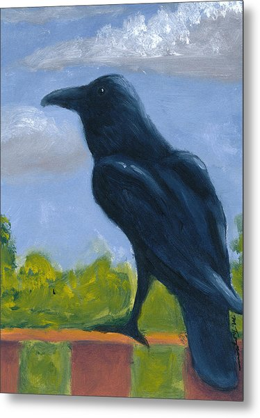 Raven On A Rail Metal Print