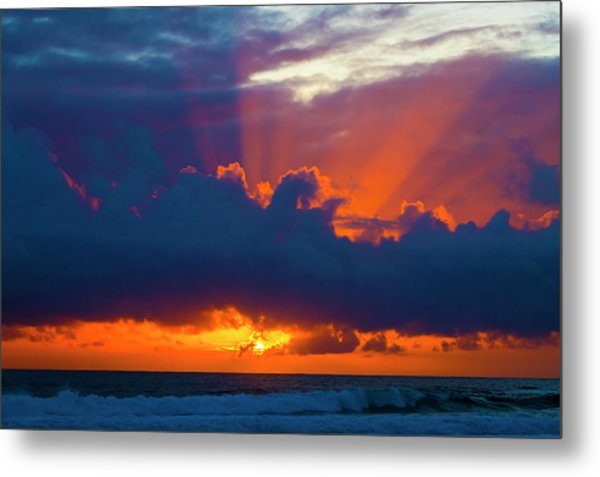 Rays Of Light Over The Ocean Metal Print