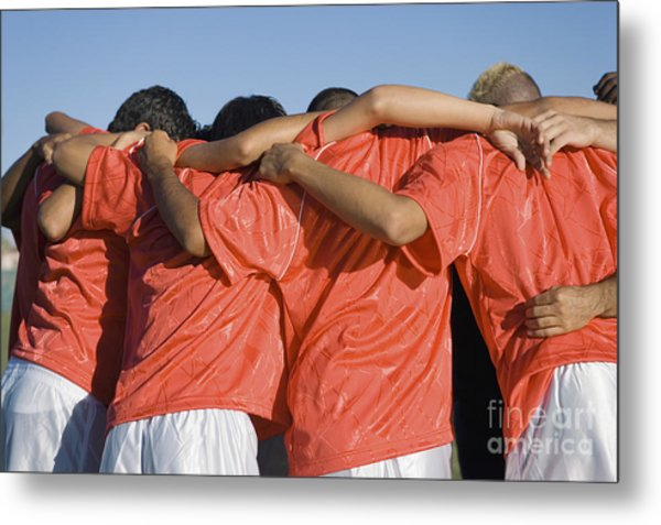 Rear View Of Young Soccer Players Metal Print by Sirtravelalot