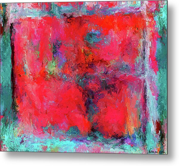 Metal Print featuring the painting Rectangular Red by Rein Nomm