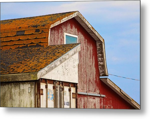 Metal Print featuring the photograph Red Acadian Fishing Shack At by Tatiana Travelways