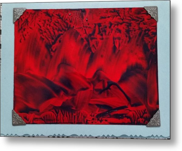 Red And Black Encaustic Abstract Metal Print