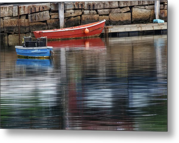 Red And Blue Row Boats On Rainy Day Metal Print by Adam Jones
