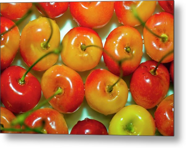 Red And Yellow Cherries On A Plate Metal Print by By Ken Ilio