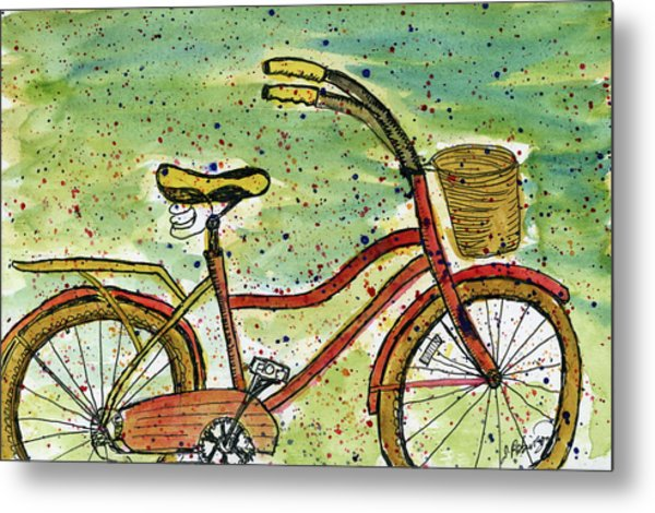 Red Bicycle Yellow Seat Metal Print