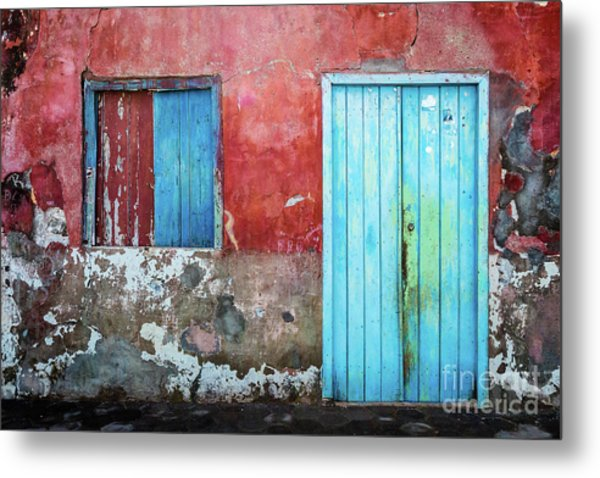 Red, Blue And Grey Wall, Door And Window Metal Print