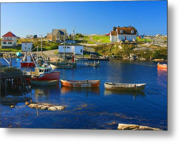Metal Print featuring the photograph Red Boats In Peggys Cove Nova Scotia by Tatiana Travelways