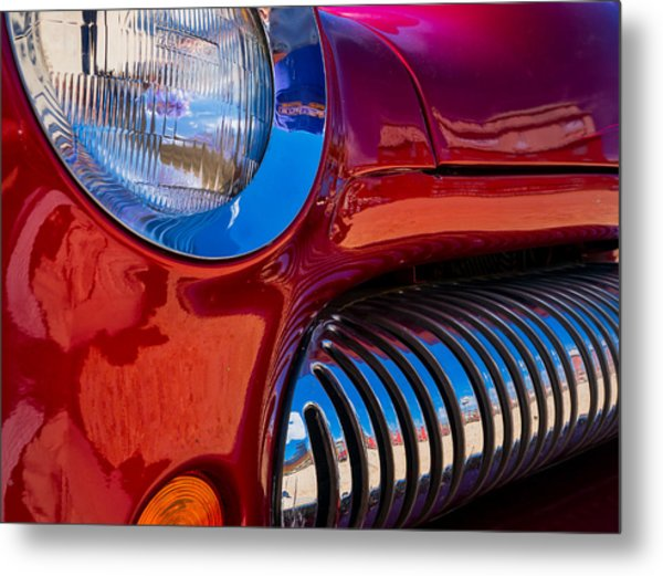Red Car Chrome Grill Metal Print