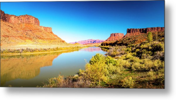 Metal Print featuring the photograph Red Cliffs Canyon Panoramic by David Morefield
