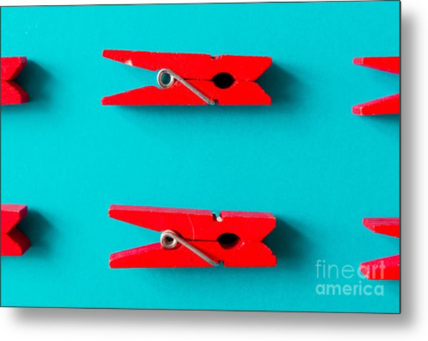 Red Clothespins On Cyan Background Metal Print by Zamurovic Photography