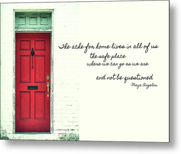 Red Door Quote Metal Print