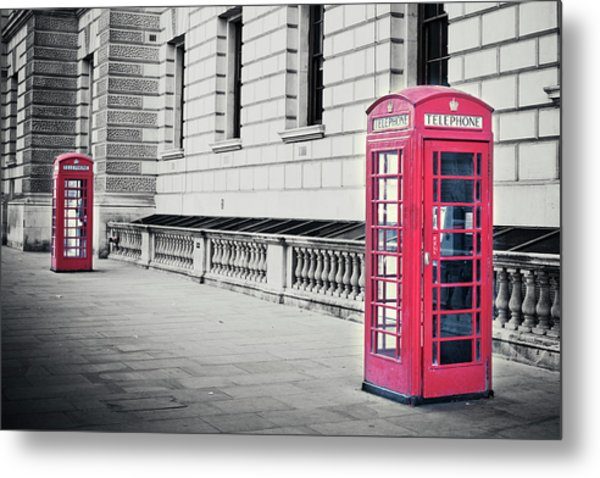 Red English Phone Booths In Black And Metal Print