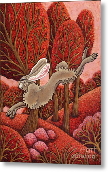 Red Forest Run Metal Print