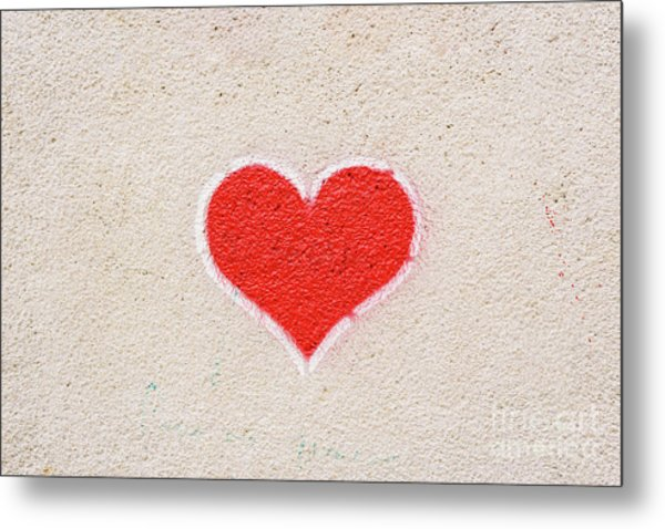 Red Heart Painted On A Wall, Message Of Love. Metal Print