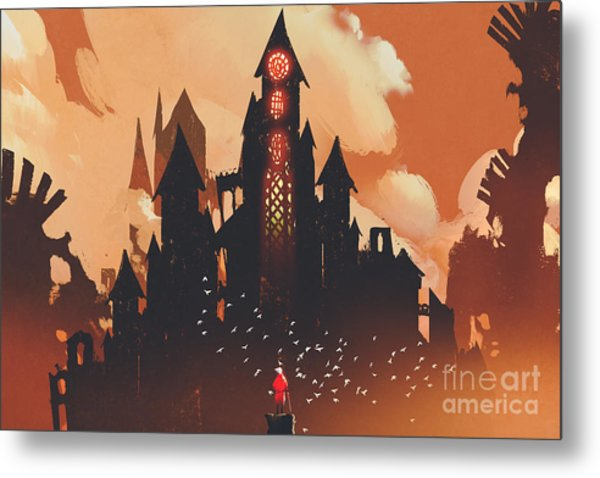 Red Knight Standing In Front Of Fantasy Metal Print