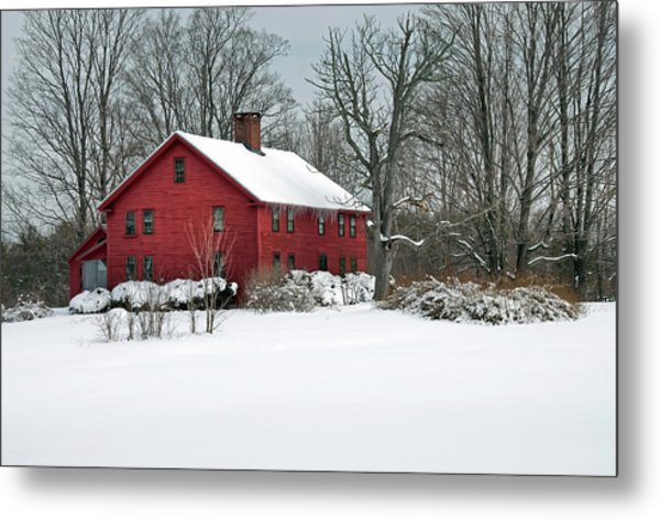 Red New England Colonial In Winter Metal Print