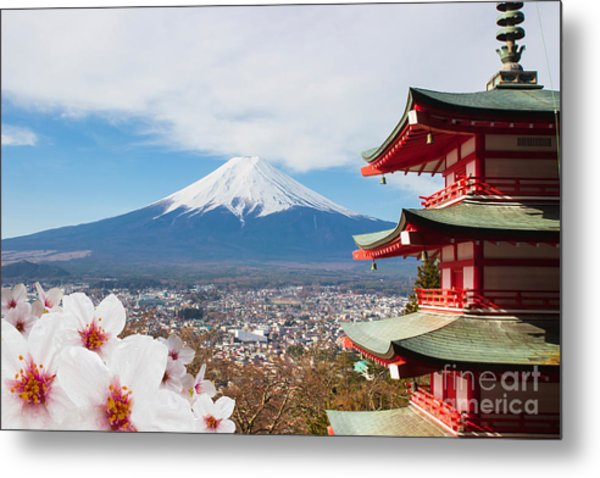 Red Pagoda With Mt Fuji Background And Metal Print by Tnshutter