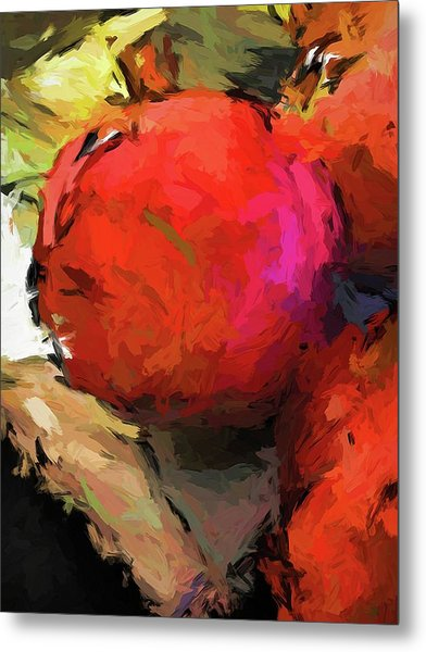 Red Pomegranate In The Yellow Light Metal Print