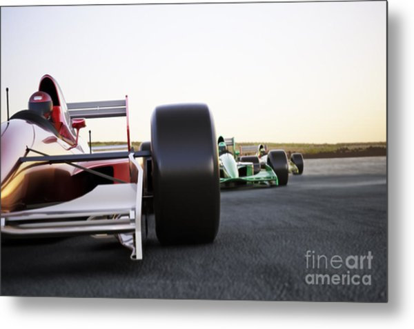 Red Race Car Close Up Front View On A Metal Print