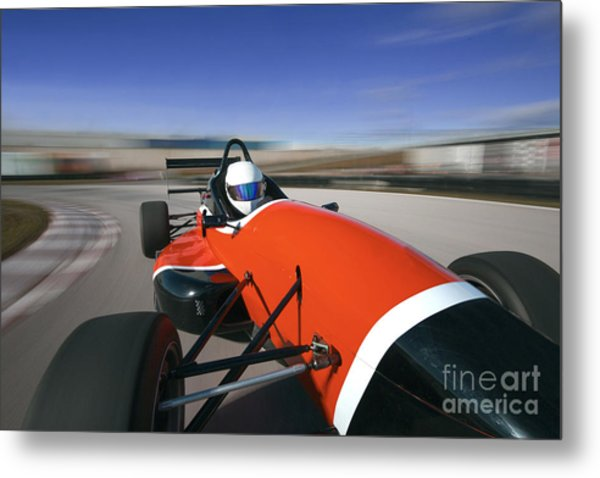 Red Racing Car Driving At High Speed In Metal Print