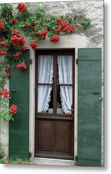 Red Rose Door Metal Print