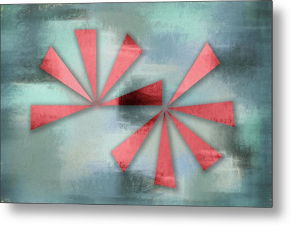 Red Triangles On Blue Grey Backdrop Metal Print