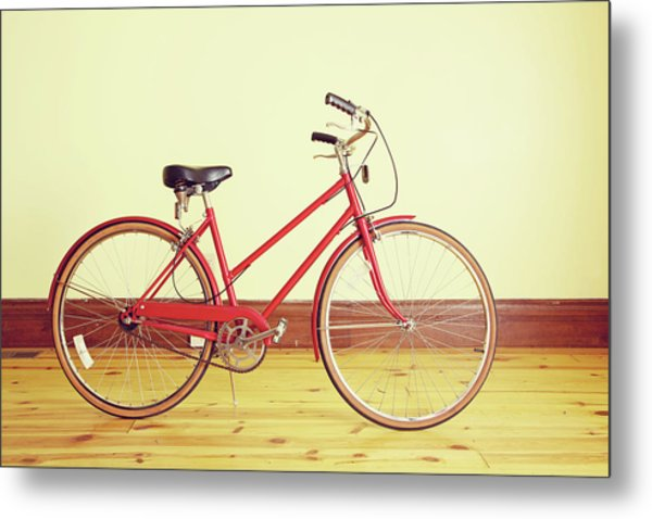 Red Vintage Retro Bicycle Abstract Metal Print