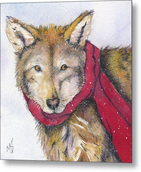 Red Wolf And Scarf Metal Print